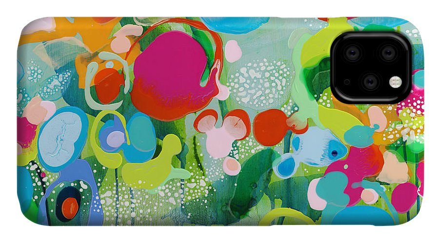 Abstract IPhone 11 Case featuring the painting Paradise Outer Limits by Claire Desjardins