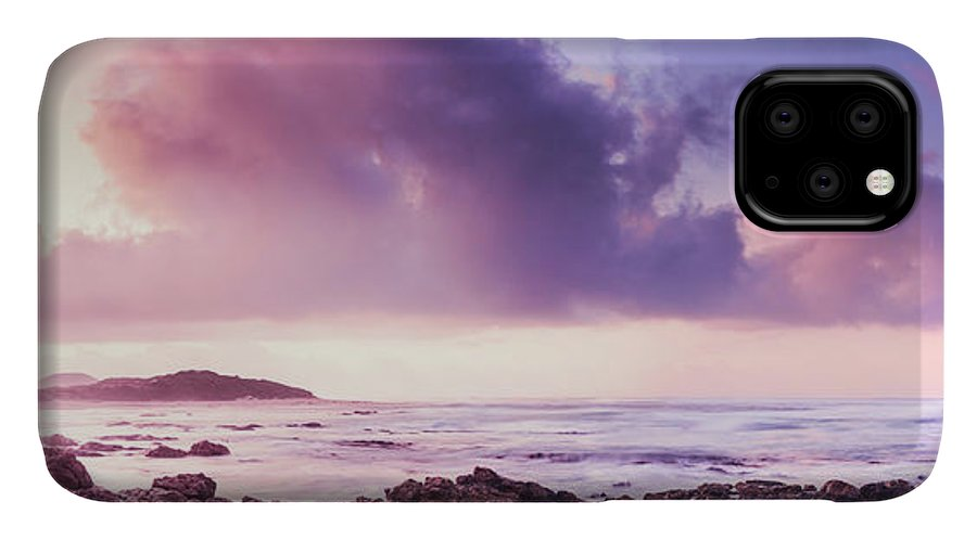 Purple IPhone 11 Case featuring the photograph Pastel Purple Seashore by Jorgo Photography - Wall Art Gallery