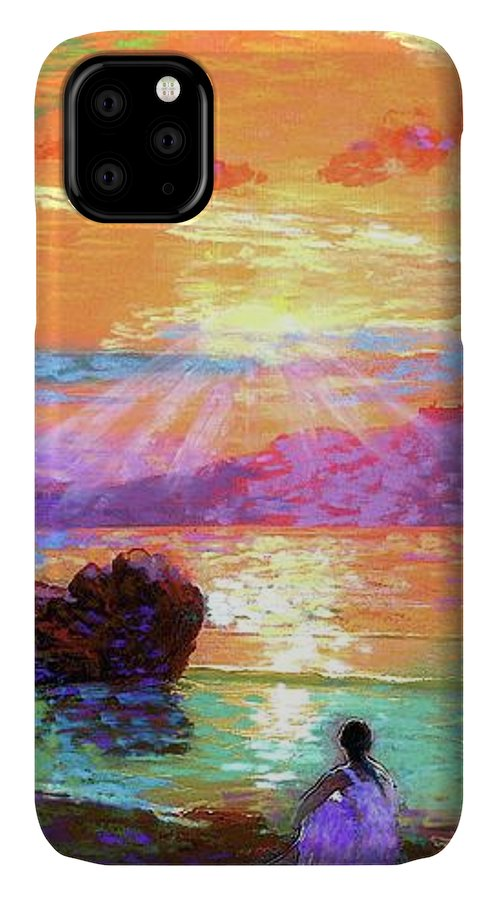Sun IPhone 11 Case featuring the painting Peace Be Still Meditation by Jane Small