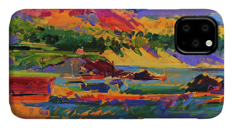 Pebble Beach IPhone Case featuring the painting Pebble Beach Towards Carmel by Peter Graham