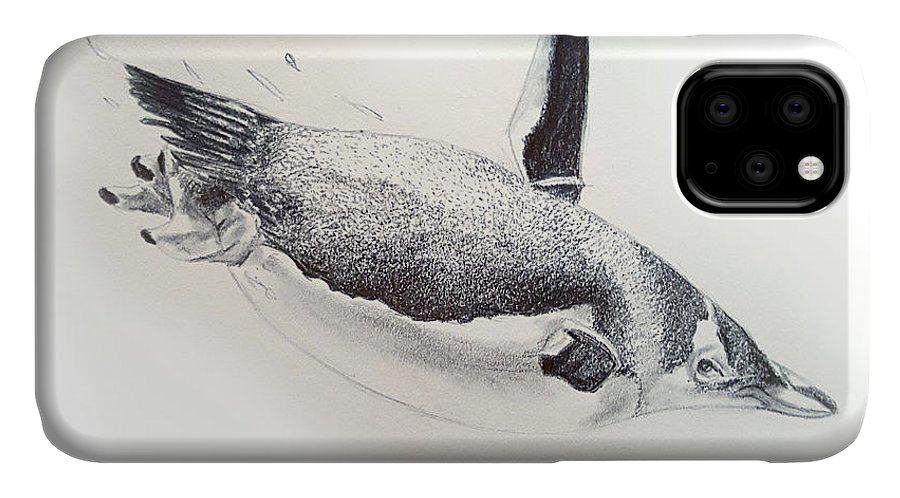 Animal IPhone Case featuring the drawing Penguin by Emma Olsen