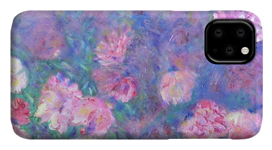 Peonies IPhone 11 Case featuring the painting Peonies by Claire Bull