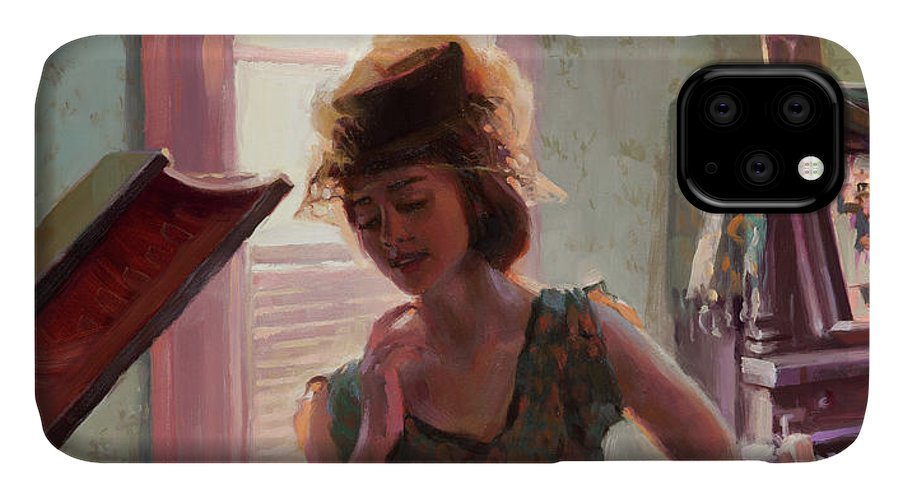 Nostalgia IPhone 11 Case featuring the painting Phonograph Days by Steve Henderson