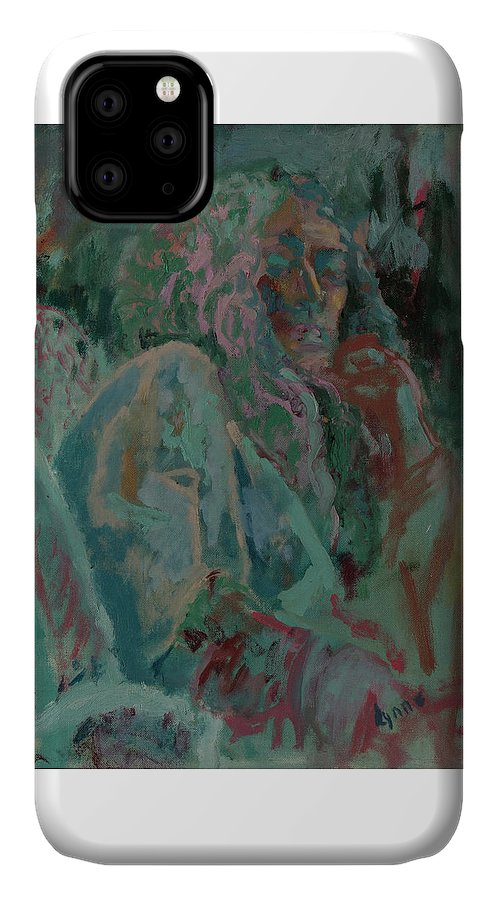 Portrait IPhone 11 Case featuring the painting Pink And Green Portrait by Lynne Guess