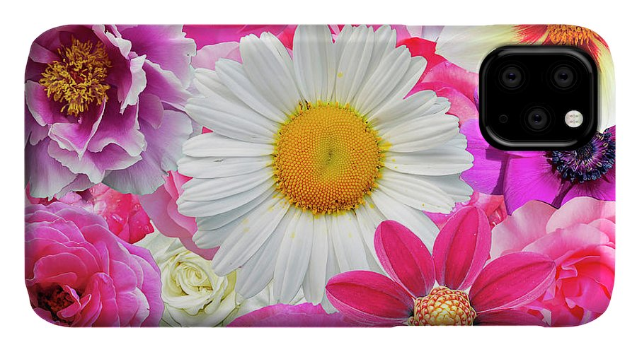 Pink IPhone Case featuring the digital art Pink Flowers by Gloria Sanchez