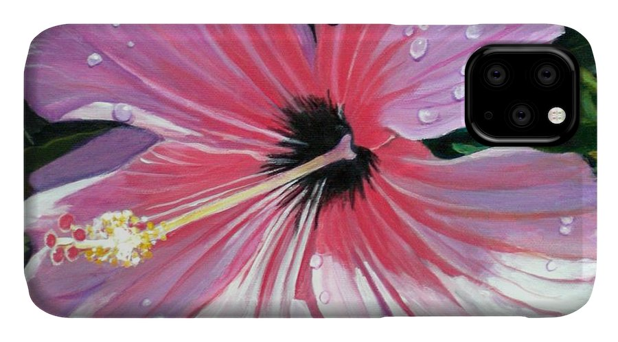 Pink IPhone Case featuring the painting Pink Hibiscus With Raindrops by Marionette Taboniar