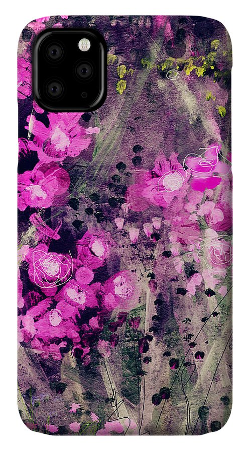 Flowers IPhone 11 Case featuring the mixed media Pink Majestic Garden- Art By Linda Woods by Linda Woods