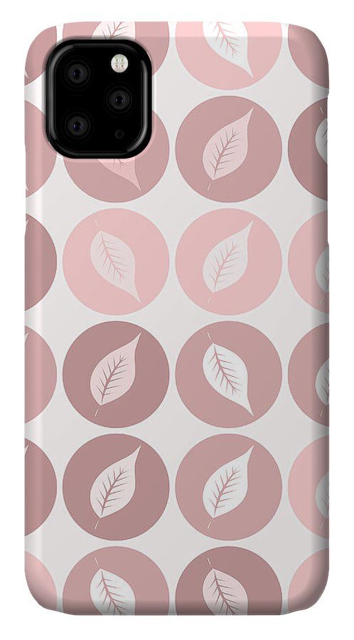 Pattern IPhone 11 Case featuring the digital art Pinkish Leaves by Gaspar Avila