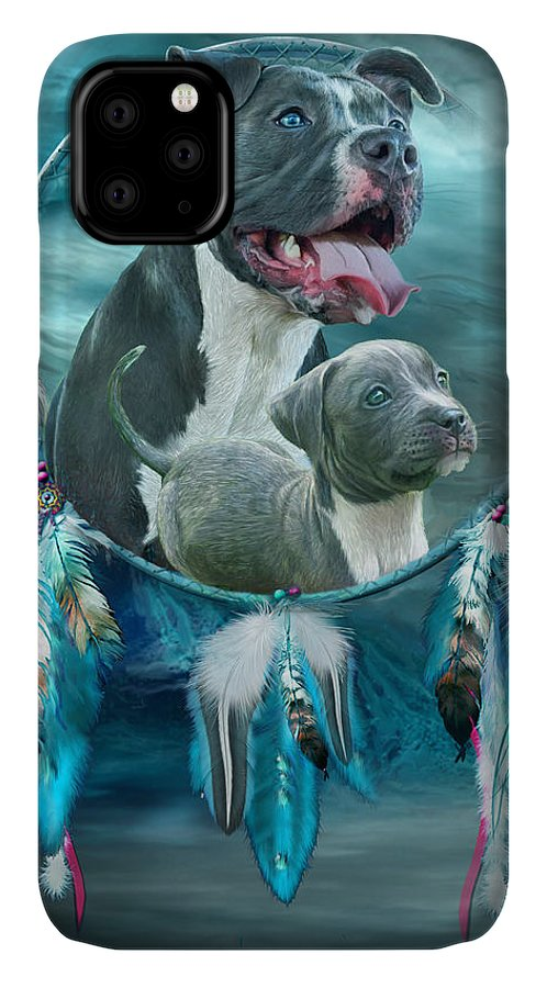 Rez Dog Cover Art IPhone 11 Case featuring the mixed media Pit Bulls - Rez Dog by Carol Cavalaris