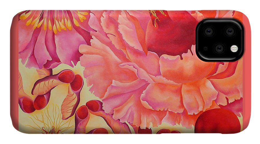 Maple Leaves IPhone 11 Case featuring the painting POM by Elizabeth Elequin