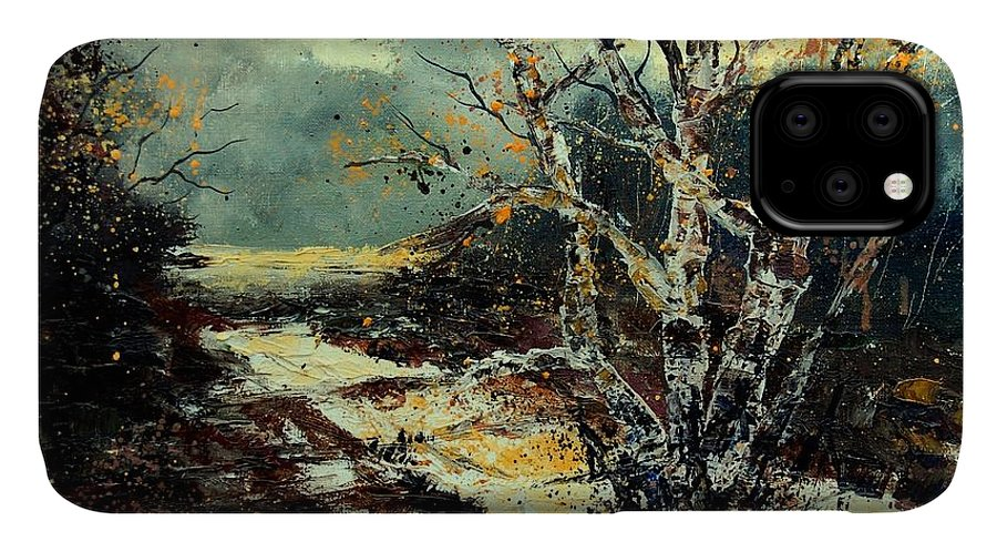 Tree IPhone Case featuring the painting Poplars 45 by Pol Ledent