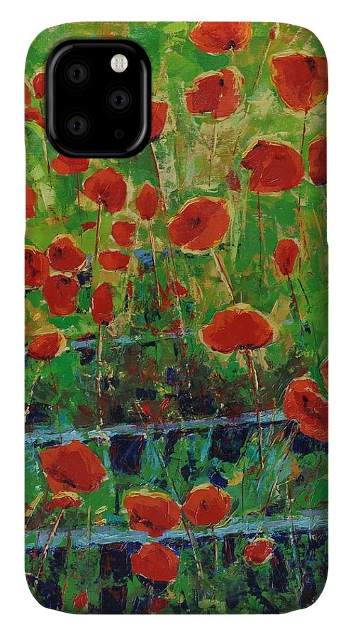 Poppies IPhone Case featuring the painting Poppies And Traverses 1 by Iliyan Bozhanov