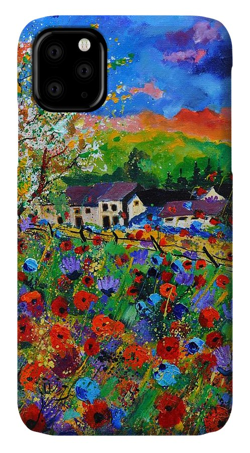 Poppies IPhone 11 Case featuring the painting Poppies In Sorinnes by Pol Ledent