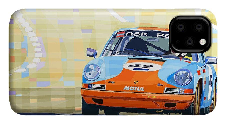 Automotiv IPhone Case featuring the digital art Porsche 911 S Classic Le Mans 24 by Yuriy Shevchuk