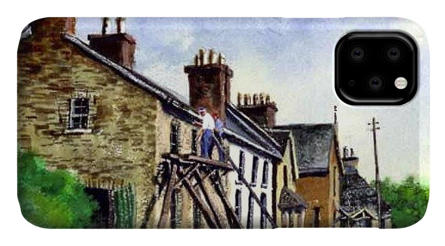 Water Color IPhone Case featuring the painting Port Rush Gutter Repair by Jim Gola