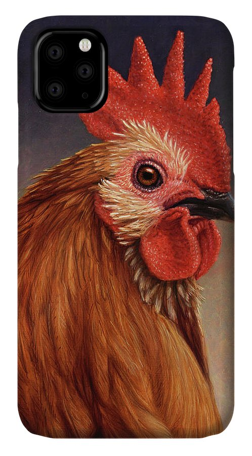 Rooster IPhone 11 Case featuring the painting Portrait Of A Rooster by James W Johnson