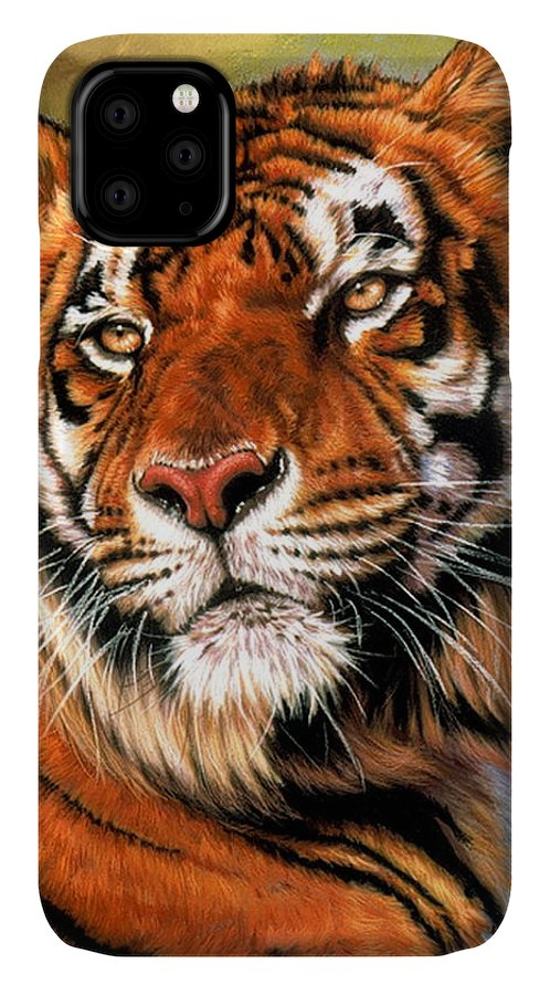 Tiger IPhone Case featuring the pastel Power and Grace by Barbara Keith