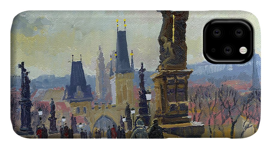 Oil On Canvas IPhone 11 Case featuring the painting Prague Charles Bridge 04 by Yuriy Shevchuk