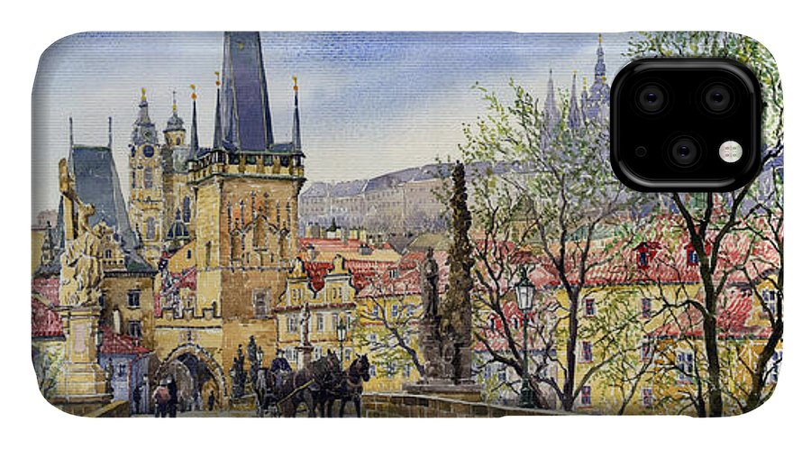 Watercolour IPhone 11 Case featuring the painting Prague Charles Bridge Spring by Yuriy Shevchuk