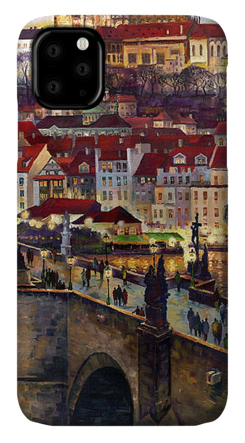 Prague IPhone 11 Case featuring the painting Prague Charles Bridge With The Prague Castle by Yuriy Shevchuk
