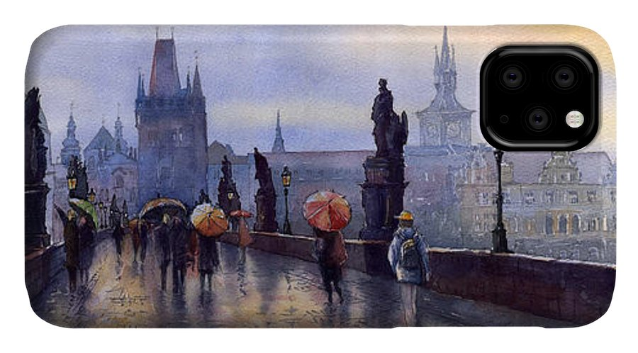 Cityscape IPhone 11 Case featuring the painting Prague Charles Bridge by Yuriy Shevchuk