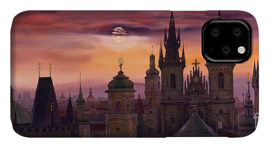 Cityscape IPhone Case featuring the painting Prague City Of Hundres Spiers by Yuriy Shevchuk