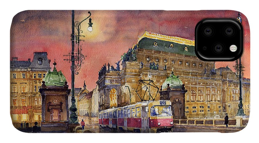 Bridge IPhone 11 Case featuring the painting Prague Night Tram National Theatre by Yuriy Shevchuk