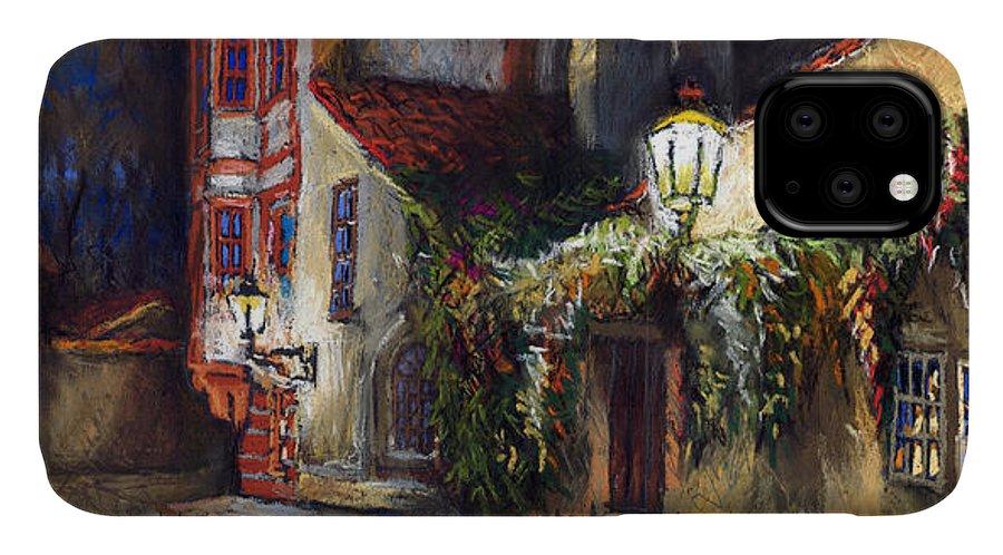 Prague IPhone Case featuring the painting Prague Novy Svet Kapucinska str by Yuriy Shevchuk
