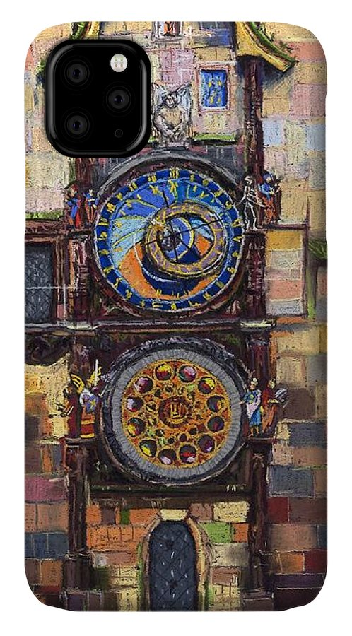 Cityscape IPhone 11 Case featuring the painting Prague The Horologue At Oldtownhall by Yuriy Shevchuk
