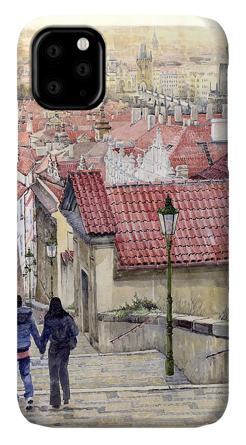 Watercolor IPhone 11 Case featuring the painting Prague Zamecky Schody Castle Steps by Yuriy Shevchuk