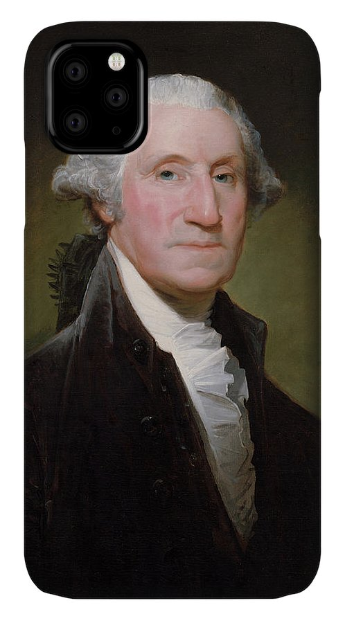 George Washington IPhone 11 Case featuring the painting President George Washington by War Is Hell Store