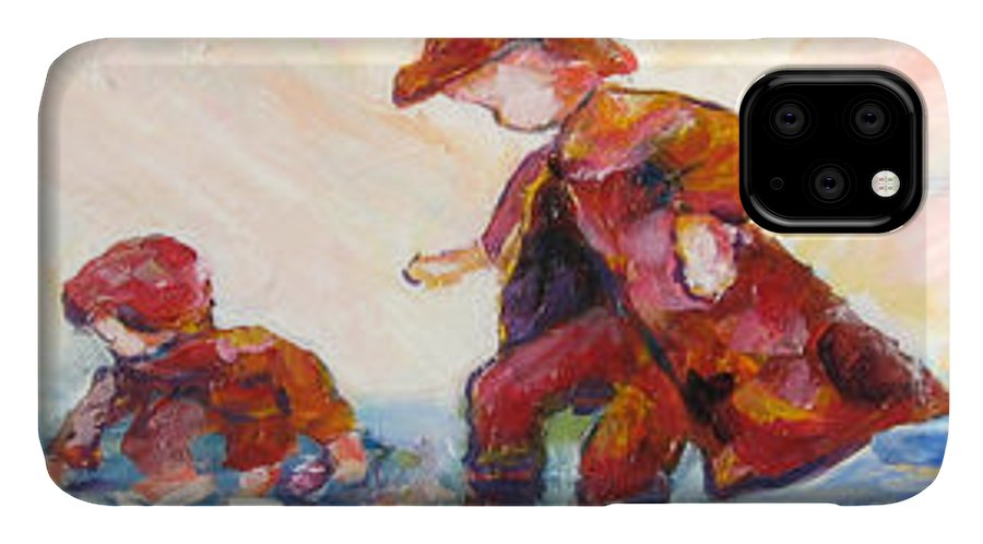 Mothers And Children Bonding IPhone Case featuring the mixed media Puddle Jumpers by Naomi Gerrard