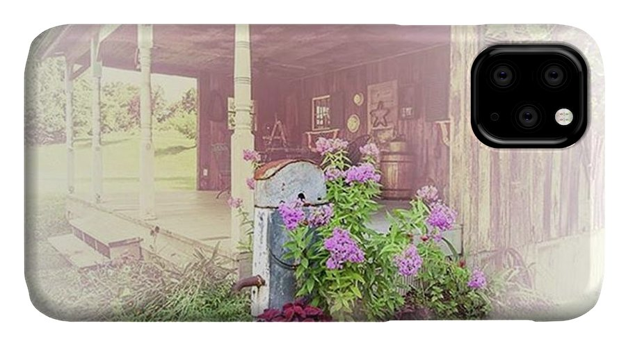 Ruralphotography IPhone Case featuring the photograph Pump With Flowers brazeau by Larry Braun