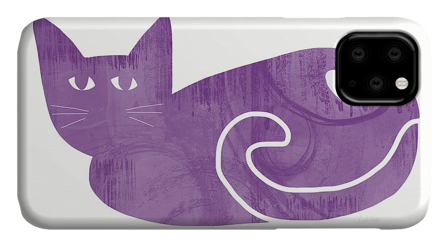 Cat IPhone Case featuring the painting Purple Cat- Art by Linda Woods by Linda Woods