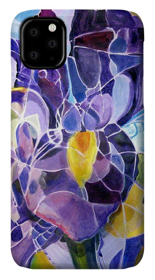 Nature IPhone Case featuring the painting Purple Irises by Therese AbouNader