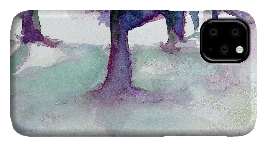 Landscape IPhone Case featuring the painting Purplescape II by Jan Bennicoff
