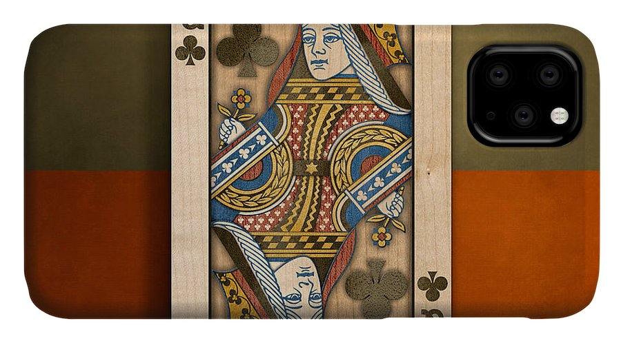 Boards IPhone Case featuring the photograph Queen Of Clubs In Wood by YoPedro