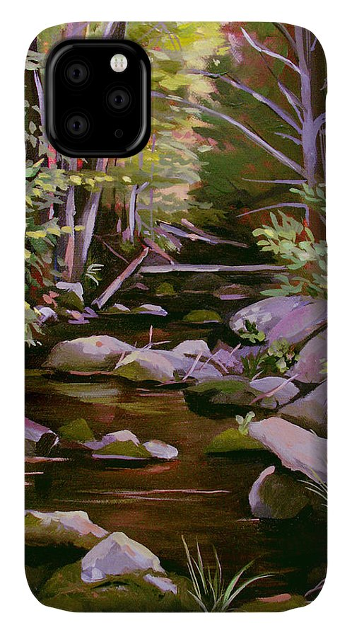 Peoples State Forest IPhone Case featuring the painting Quiet Brook by Nancy Griswold
