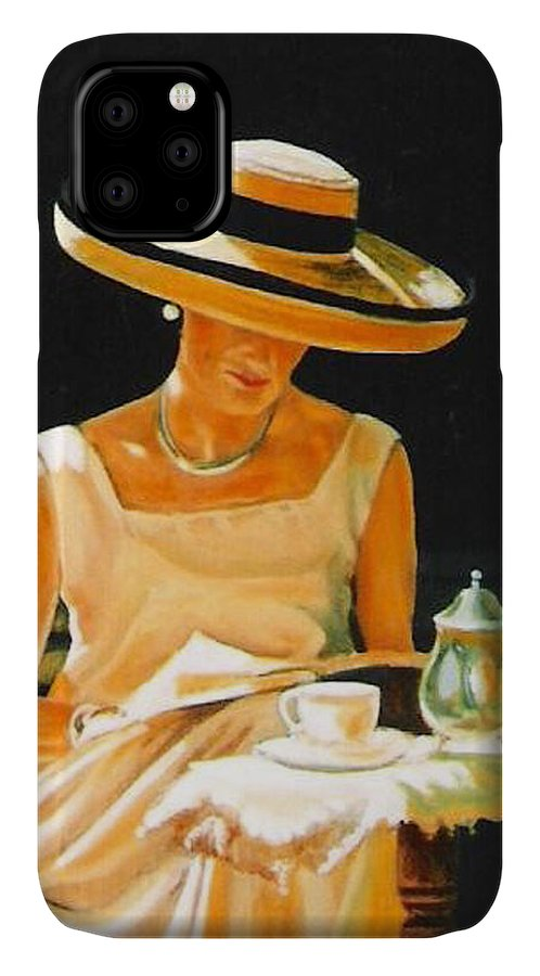 Tea Cup IPhone Case featuring the painting Quiet time by Keith Gantos