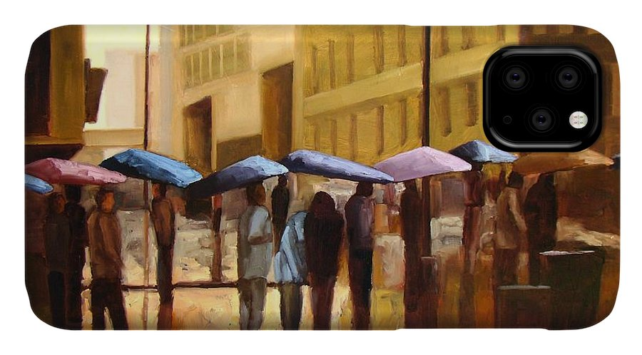 Cityscape IPhone 11 Case featuring the painting Rain In Manhattan Number Seventeen by Tate Hamilton