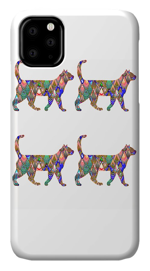 Cat IPhone Case featuring the digital art Rainbow Cats by Kaylin Watchorn