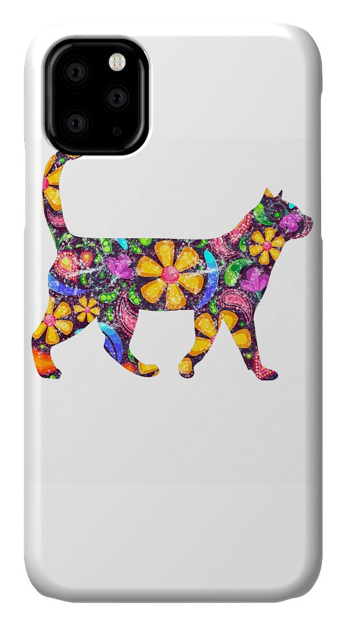 Cat IPhone Case featuring the digital art Rainbow Flower Cat by Kaylin Watchorn