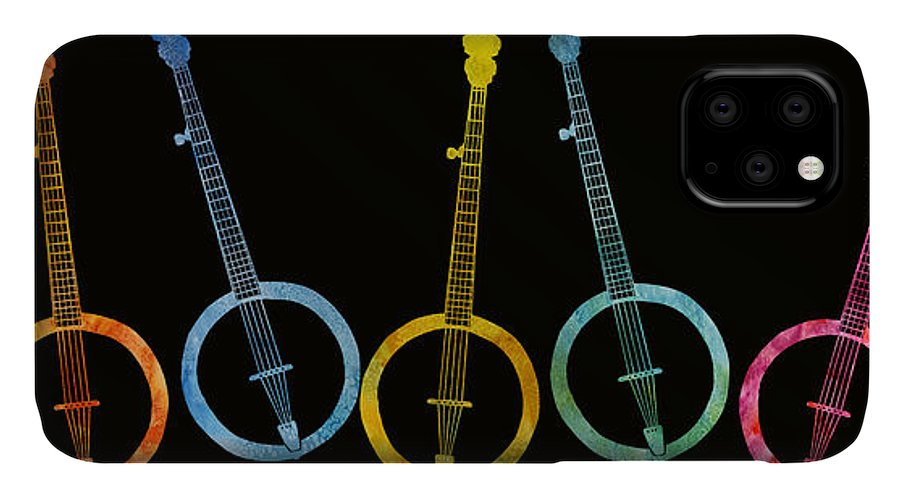 Banjo IPhone Case featuring the digital art Rainbow Of Banjos by Jenny Armitage