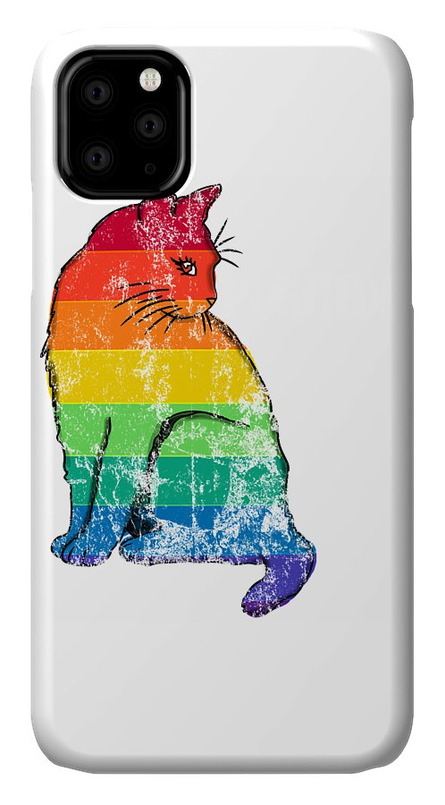 Cat IPhone Case featuring the digital art Rainbow Purride Distressed by Kaylin Watchorn