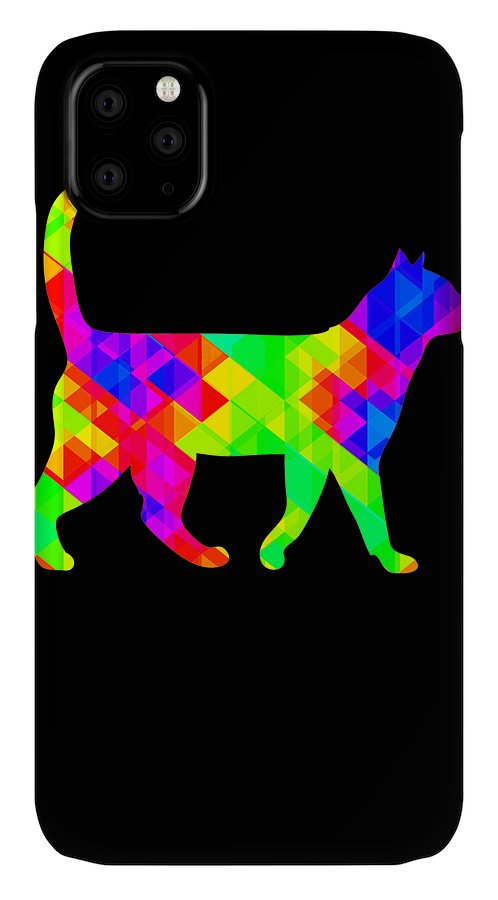 Cat IPhone Case featuring the digital art Rainbow Square Cat Inverted by Kaylin Watchorn