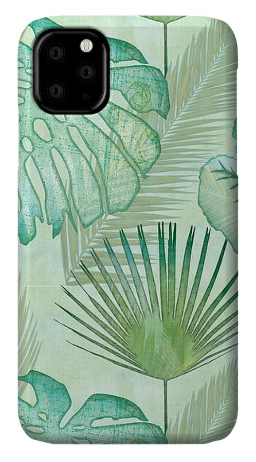 Rain IPhone Case featuring the painting Rainforest Tropical - Elephant Ear And Fan Palm Leaves Repeat Pattern by Audrey Jeanne Roberts
