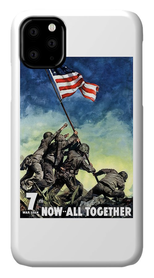 Iwo Jima IPhone Case featuring the painting Raising The Flag On Iwo Jima by War Is Hell Store