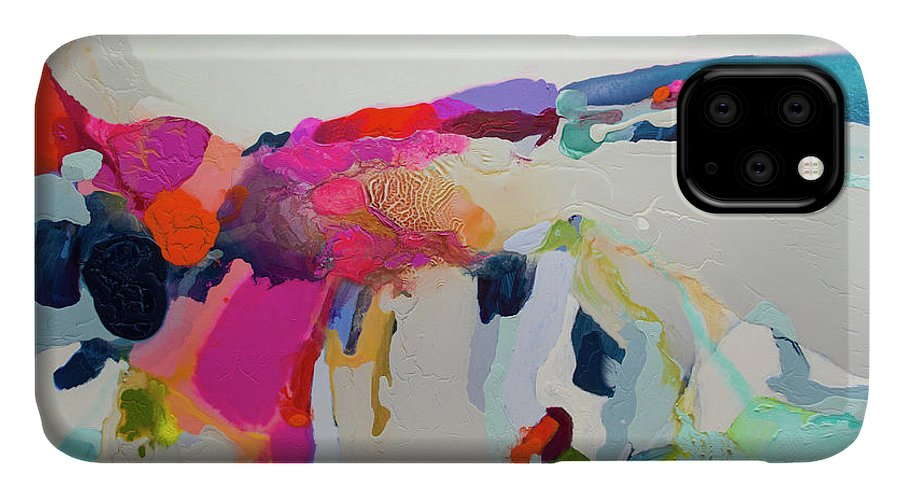 Abstract IPhone 11 Case featuring the painting Reach In Reach Out by Claire Desjardins
