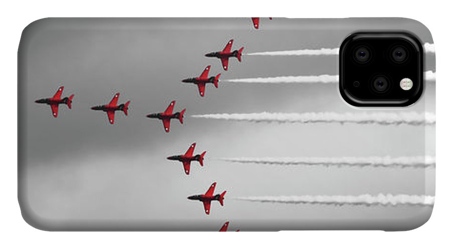 Red Arrows IPhone Case featuring the photograph Red Arrows Selective Colour Panorama by Terri Waters