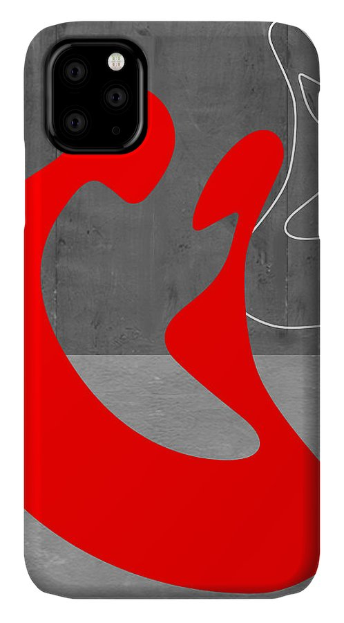 Abstract IPhone Case featuring the painting Red Couple by Naxart Studio